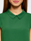 Блузка базовая без рукавов с воротником oodji #SECTION_NAME# (зеленый), 11411084B/43414/6E00N - вид 4