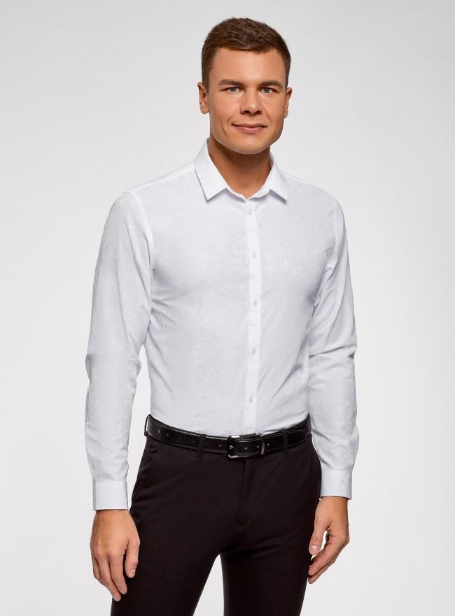 Рубашка приталенного силуэта с цветочным принтом oodji #SECTION_NAME# (белый), 3L110342M/48802N/1000J