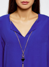 Блузка прямого силуэта с украшением oodji #SECTION_NAME# (синий), 21404021/43281/7500N - вид 4
