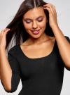 Платье облегающего силуэта с воланами на рукавах oodji #SECTION_NAME# (черный), 63912224/47002/2900N - вид 4