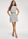 Платье принтованное из вискозы oodji #SECTION_NAME# (белый), 11910073/26346/1229O - вид 2