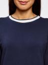 Свитшот прямого силуэта с круглым вырезом oodji для женщины (синий), 14801018/15118/7900N