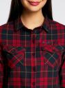 Рубашка в клетку с нагрудными карманами oodji для женщины (красный), 11400433/43223/7945C