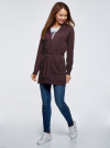 Кардиган с поясом и накладными карманами oodji для женщины (фиолетовый), 63212601/43755/8800M - вид 6