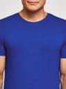 Футболка базовая приталенная oodji для мужчины (синий), 5B611004M/46737N/7501N