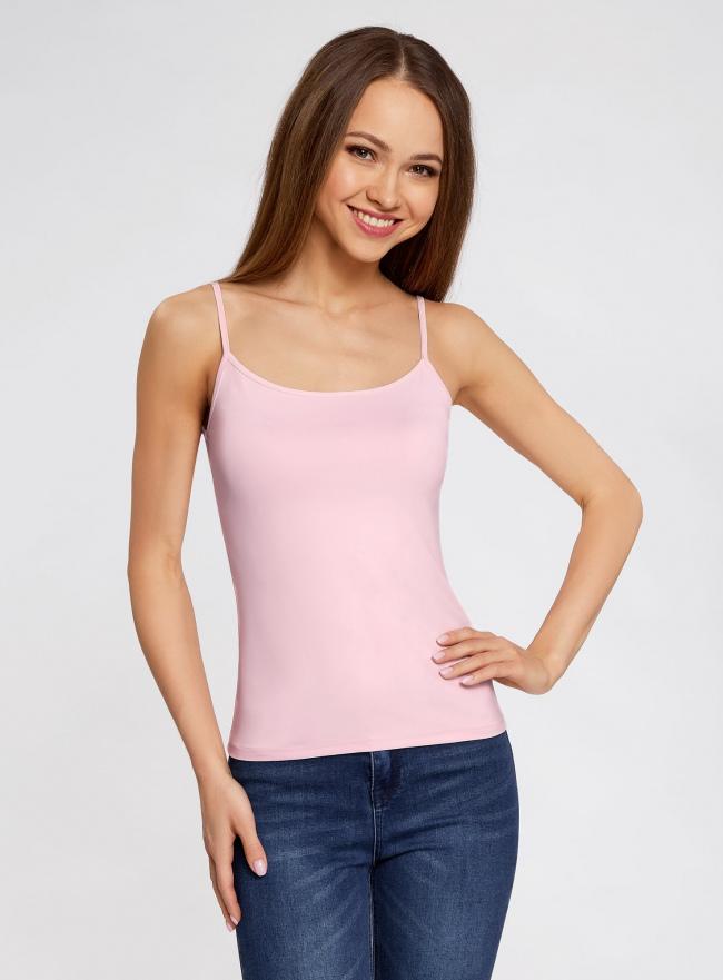 Топ трикотажный на тонких бретелях oodji для женщины (розовый), 14305023-4B/45297/4000N