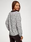 Блузка из струящейся ткани с контрастным воротником oodji #SECTION_NAME# (белый), 11411117-1B/49474/1229F - вид 3
