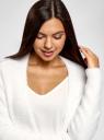 Кардиган прямого силуэта без застежки oodji для женщины (белый), 63205260/49500/1000N