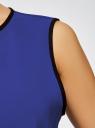 Блузка с контрастной отделкой oodji #SECTION_NAME# (синий), 11411047/42405/7529B - вид 4