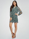 Платье шифоновое с манжетами на резинке oodji #SECTION_NAME# (зеленый), 11914001/15036/6912E - вид 6