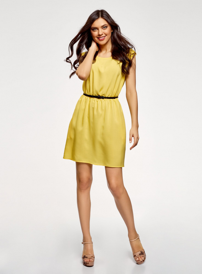 Платье вискозное без рукавов oodji #SECTION_NAME# (желтый), 11910073B/26346/5100N