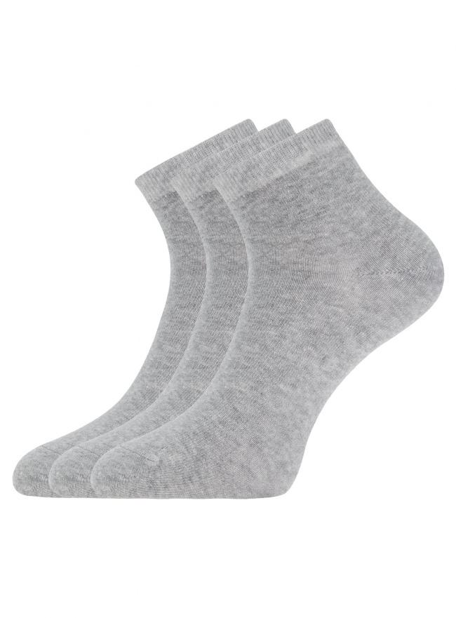 Комплект из трех пар укороченных носков oodji для женщины (серый), 57102418T3/47469/2000M