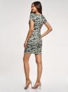 Платье приталенное с металлическим декором на плечах oodji #SECTION_NAME# (зеленый), 14001177/18610/6062O - вид 3