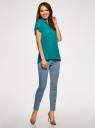 Блузка из вискозы с нагрудными карманами oodji #SECTION_NAME# (бирюзовый), 11400391-3B/24681/7300N - вид 6