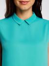 Блузка базовая без рукавов с воротником oodji #SECTION_NAME# (бирюзовый), 11411084B/43414/7300N - вид 4