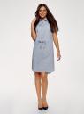 Платье хлопковое на кулиске oodji #SECTION_NAME# (синий), 11901147-5B/42468/7029G - вид 2