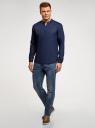 Рубашка льняная без воротника oodji #SECTION_NAME# (синий), 3B320002M/21155N/7800N - вид 6