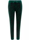 Брюки трикотажные на завязках oodji #SECTION_NAME# (зеленый), 16701042-1/46919/6D29E
