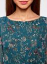 Платье из шифона с ремнем oodji для женщины (зеленый), 11900150-5/13632/6D4AF