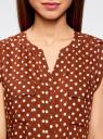 Блузка принтованная из вискозы с двумя карманами oodji #SECTION_NAME# (коричневый), 21412132/24681/3912D - вид 4