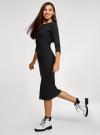 Платье приталенное с надписью oodji #SECTION_NAME# (черный), 14011059/48037/2929P - вид 6