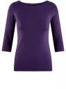 Футболка базовая с рукавом 3/4 oodji для женщины (фиолетовый), 24211001B/45297/8800N