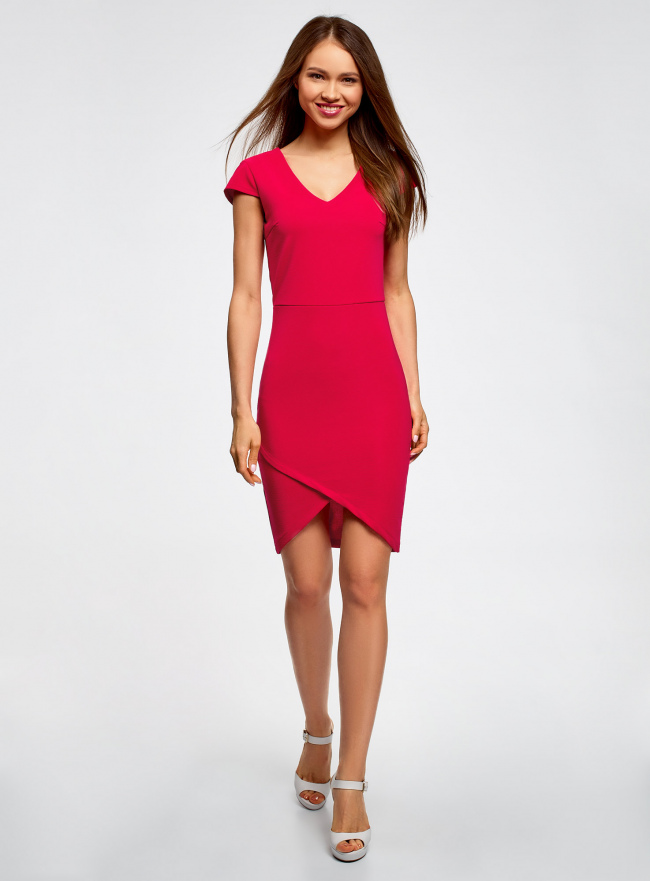 Платье с V-образным вырезом и асимметричным низом oodji для женщины (розовый), 14001208/22132/4700N