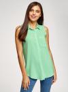 Топ вискозный с нагрудным карманом oodji для женщины (зеленый), 11411108B/26346/6500N - вид 2