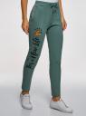 Брюки спортивные с надписью oodji для женщины (зеленый), 16701063/48881/6C29P