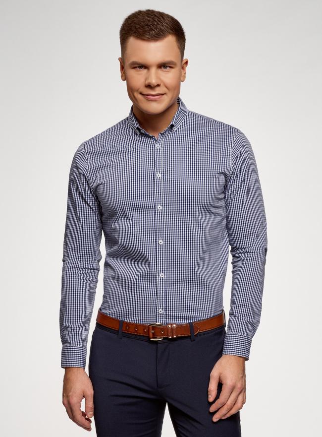 Рубашка extra slim в мелкую клетку oodji для мужчины (синий), 3B140003M/39767N/7510C