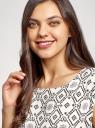 Платье принтованное из вискозы oodji #SECTION_NAME# (белый), 11910073/26346/1229O - вид 4