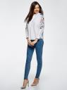 Рубашка хлопковая с вышивкой oodji для женщины (белый), 13L05001/13175N/1000N