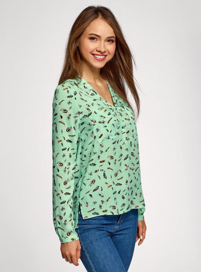 Блузка принтованная из вискозы oodji для женщины (зеленый), 11411049-1/42127/6519A