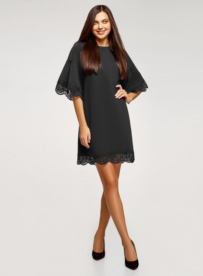 Платье прямого силуэта с воланами на рукавах oodji для женщины (черный), 14000172-4/48033/2900N