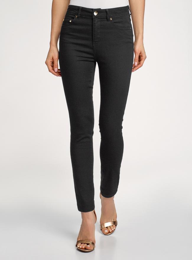 Джинсы skinny с высокой посадкой oodji для женщины (черный), 12103149-1B/46747/2900W