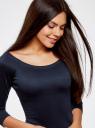 Платье облегающее с вырезом-лодочкой oodji #SECTION_NAME# (синий), 14017001/42376/7900N - вид 4