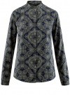 Блузка из вискозы принтованная с воротником-стойкой oodji #SECTION_NAME# (синий), 21411063-2/26346/7923E