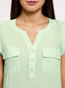 Блузка вискозная с нагрудными карманами oodji для женщины (зеленый), 21412132-6B/48756/6501N