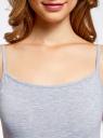 Комплект маек на тонких бретелях (2 штуки) oodji для женщины (серый), 14305023T2/46147/2000M