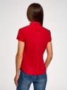 Рубашка хлопковая с коротким рукавом oodji #SECTION_NAME# (красный), 13K01004-1B/14885/4500N - вид 3