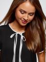 Блузка с коротким рукавом и контрастной отделкой oodji #SECTION_NAME# (черный), 11401254/42405/2900N - вид 4