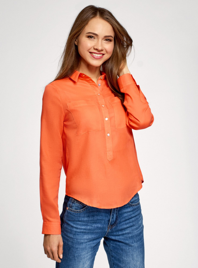 Рубашка хлопковая свободного силуэта oodji #SECTION_NAME# (оранжевый), 11411101B/45561/5500N