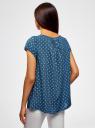 Блузка свободного силуэта с бантом oodji для женщины (синий), 11411154-1B/24681/7912O