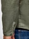 Рубашка льняная без воротника oodji #SECTION_NAME# (зеленый), 3B320002M/21155N/6600N - вид 5
