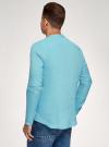 Рубашка льняная без воротника oodji #SECTION_NAME# (бирюзовый), 3B320002M/21155N/7300N - вид 3