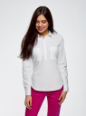 Рубашка хлопковая с карманами oodji для женщины (белый), 13K03002-1B/42468/1000N