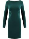 Платье трикотажное облегающего силуэта oodji для женщины (зеленый), 14001183B/46148/6E01N