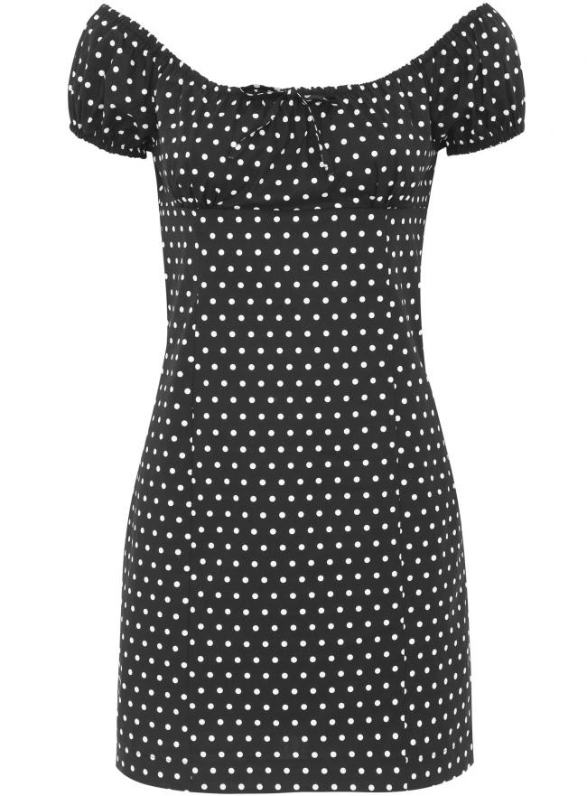 Платье принтованное из хлопка oodji для женщины (черный), 11902047-2/14846/2910D
