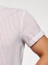Рубашка хлопковая с коротким рукавом oodji #SECTION_NAME# (белый), 3L400002M/48202N/1245S - вид 5