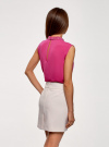 Топ из струящейся ткани с декором на воротнике oodji #SECTION_NAME# (розовый), 14911006-1/43414/4701N - вид 3